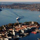 NORWAY Bergen Harbour from the 425m Mount Fløyen or Fløyfjellet