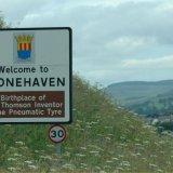 SCOTLAND - Road Sign at Stonehaven, Scotland