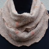 Snood 1 - Beige speckle with orange dots.