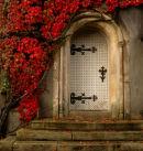 Church door in autumn