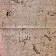 Alastair Lovett study for les parapluies (pencil on paper)