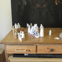 Lay figure set up for 'Ophelia'.
