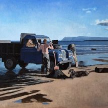 Sea Coaling the  longest day on Carr House Sands (2012 oil on canvas)