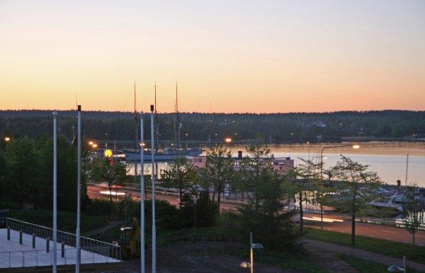 Midnight sun in Mariehamn, Aland Islands, Finland