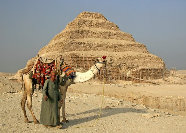 Camer and rider at Saqqara Pyramid, near Cairo