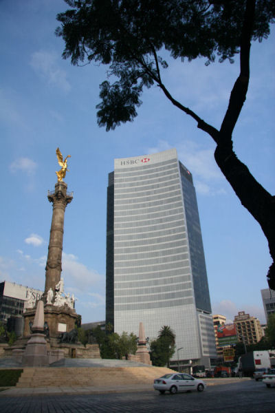 Angel of Independance and HSBC Office, Mexico City