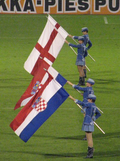 Flags at Croatia (2) v England (0)