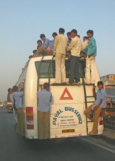 School bus outside Jaipur