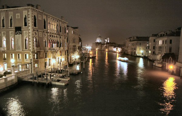 Venice, view from Academia Bridge at night