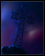 Celtic cross by moonlight - no a model standing 50mm high.
