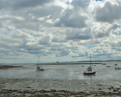 View from Holy Island looking towards Bamburgh Castle 7458