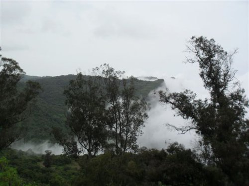 view west along the escarpment (10.30 am)