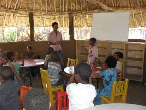 Mr Berhanu teaches the Grade 2s Amharic