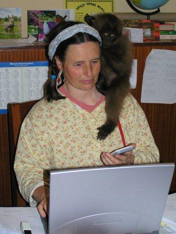 Kate at work with Jenny the Gelada