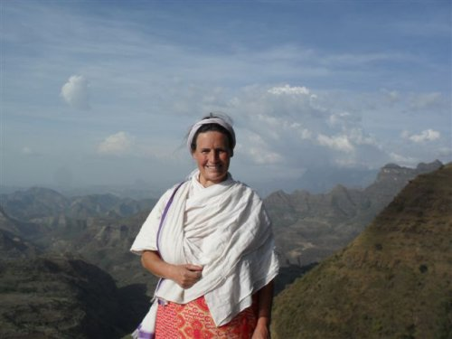 Kate on the Great Northern Escarpment of the Simien Mountains (view north-east)