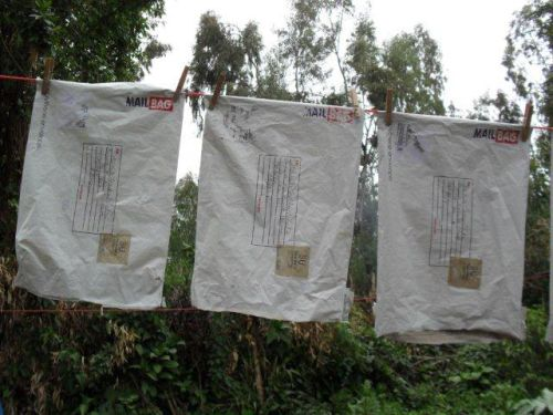 mail-bags washed and hung out to dry