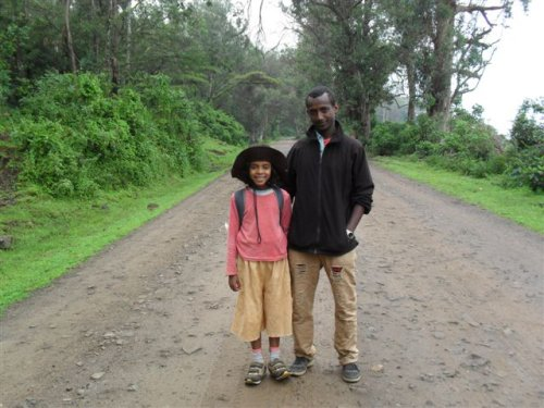 Menen and Habte on the road to Debark (7.30 am)