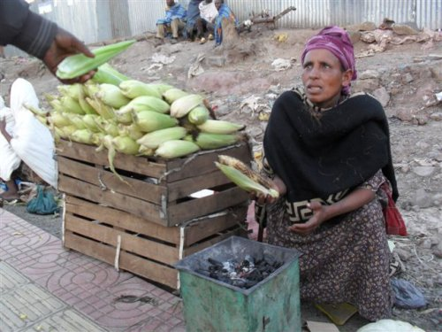 Gonder woman roasting maize on a charcoal burner