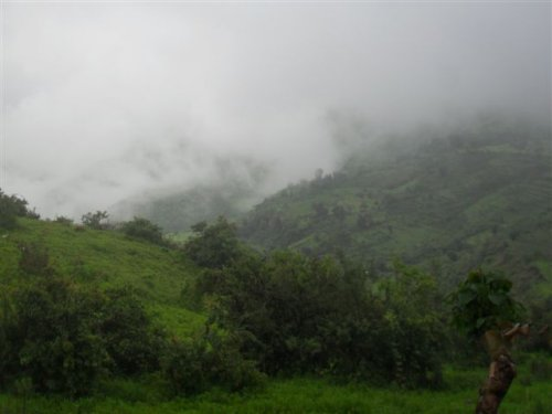 view east (Simien Mountains obscured by low cloud)