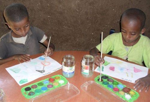Grade 1 boys enjoy watercolour painting