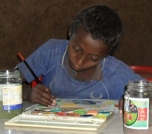 Grade 1 boy does watercolour painting