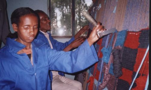 weaving training for blind beneficiaries of the Sponsorship in the Community Project - they were later employed at the Tara Centre to make rugs for sale in the Centre's shop