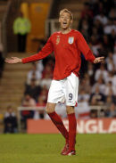 Peter Crouch in action for England.