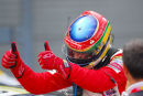 Bruno Senna celebrates win in Ferrari challenge race, Silverstone.