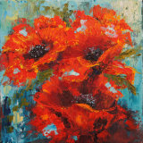 Poppy Trio palette knife painting in oils
