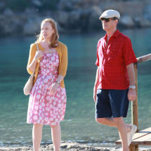 toni collete pierce brosnan on  set of new film a long way down being filmed on mallorca011