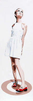 "TWIGGY - RED SHOES. 36""X12""."