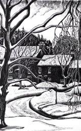Allenheads Village in snow- scraperboard
