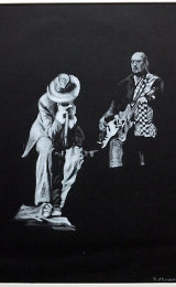 Eddie Floyd and Steve Cropper with the Blues Brothers, Newcastle Opera House. White pencil on black paper.