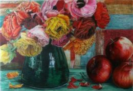 ROSES AND APPLES:Coloured Pencil drawing