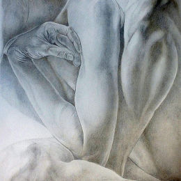 Nude Drawing, Twisted Pose. Silverpoint and Metalpoint Drawing.