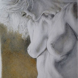 Nude Study drawn with silverpoint and goldpoint on prepared paper