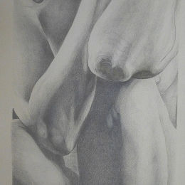 Nude drawing in silverpoint and goldpoint