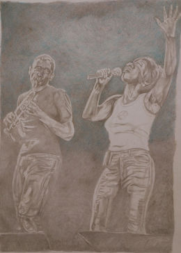Snake Davis and Heather Small. Gold and silverpoint drawing