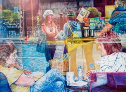 STARBUCKS REFLECTIONS: Coloured pencil drawing