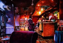 STARBUCKS INTERIOR: Coloured pencil drawing