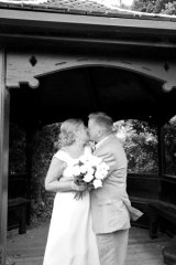 A lingering kiss under the gazebo